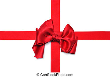red ribbon bow - a red satin ribbon with a bow on a white...