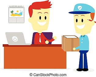 Postman Delivering A Package to A Businessman into his...