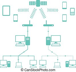 Network Flow Diagram in Flat Cartoon Style