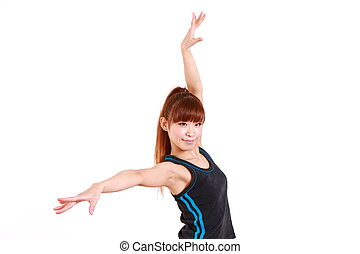 dancing%u3000woman - studio shot of young Japanese woman...
