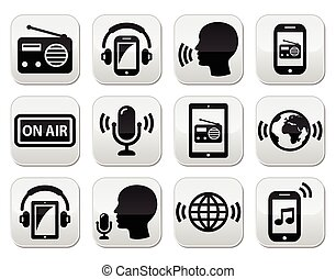 Radio, podcast app on smartphone - Vector buttons set -...
