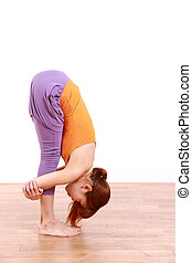 "YOGA ""standing forward bend"" - example shot of yoga pose by..."