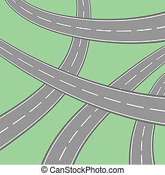 asphalt - colorful illustration with asphalt on green...