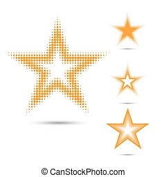 Set of abstract halftone design elements, star shape - Set...