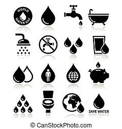 World Water Day icons - ecology - Vector icons set of water,...