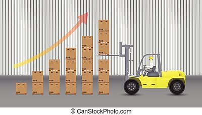 Forklift and carton with factory background.