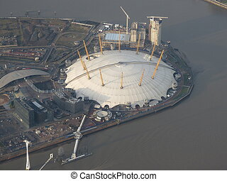 London, Millenium dome - aerial view from an aircraft over...