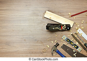Wood work background - Wood working tools, used in carpentry...
