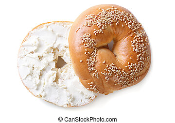 bagel with cream cheese isolated on white background - bagel...