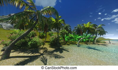 Tropical paradise with palm trees