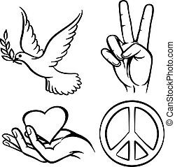 Peace symbols. Two thumbs up. Dove carries an olive branch....