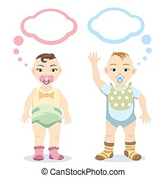 Baby boy and baby girl with speech bubbles isolated on white