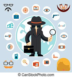 Spy with accessories icons. Spy in the black coat and hat...