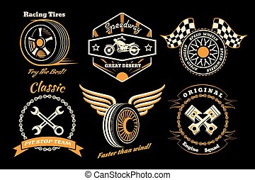 Set of racing badge - Racing badges. Themed logos, and...