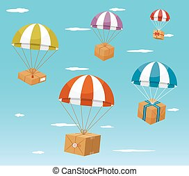 Delivery Concept - Gift Boxes on Parachute - Delivery...