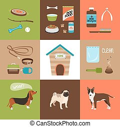 Dogs and dog accessories icons in a flat style. Vector...