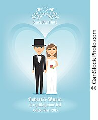 Cute cartoon bride and groom on wedding invitation or save...