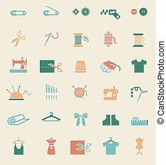 Costura, equipo, y, costura, iconos,