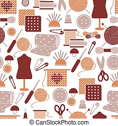 Sewing icons seamless pattern. Background for needlework,...