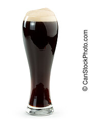 irish stout - pint of irish stout isolated on white...