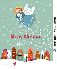 Christmas Angel - Christmas card with a cute little angel...