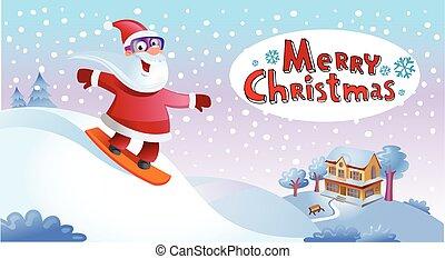 Funky Santa Claus - Holliday greeting card, Santa Claus on...