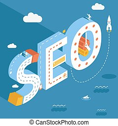 Isometric SEO, success internet searching optimization...