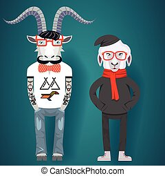 Symbols of Chinese New Year-goat and sheep in hipster...