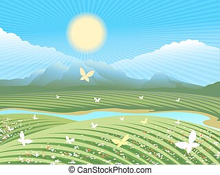 Spring farm landscape. Green field on the hills with flowers...