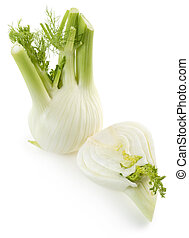 fennel bulbs - two fresh fennels isolated on white...
