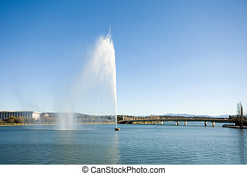 The Captain Cook Memorial Water Jet, Lake Burley Griffin,...