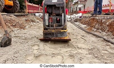 Soil Compacting at Construction Sit