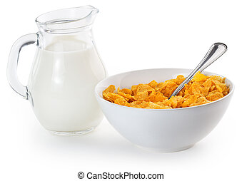 corn flakes and milk - corn flakes in a bowl and milk jug