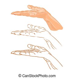 Human hand three color drawing and outline vector...