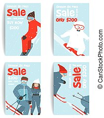 Skier and Snowboarder Fun Winter Sport Flyer Design Template...