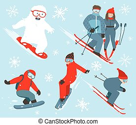 Skier and Snowboarder Winter Sport Illustration Collection -...