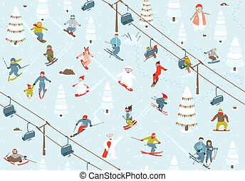 Ski Resort Seamless Pattern with Snowboarders and Skiers -...