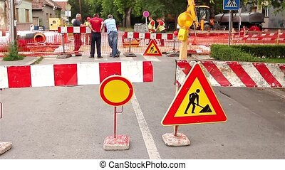 Road works with reflectors