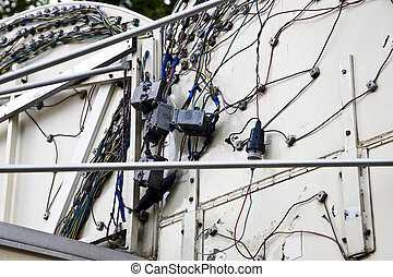 Cable mess on a backplane of a kermis waggon