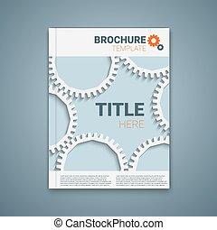 Vector  brochure template design with cogwheels.