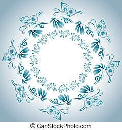 Illustration with floral ornament in blue tones -...