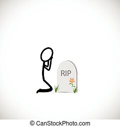 Gravestone and Person Illustration - Illustration of a...