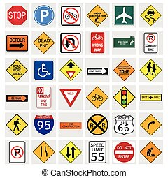 Road Signs - Illustrations of various road signs isolated on...