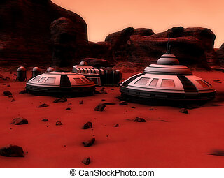 mars base - 3d rendered illustration of mars surface with...
