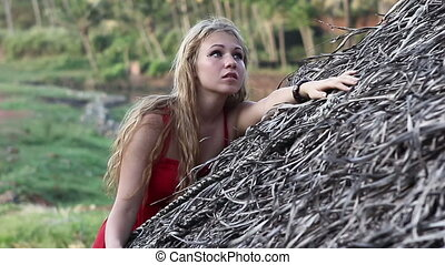 young beautiful blonde girl - young blond woman in red dress...