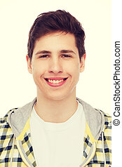 smiling student boy - happiness, youth and people concept -...