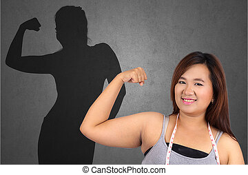 Fat woman and casting slim woman shadow