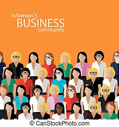 vector flat illustration of women business community a large...