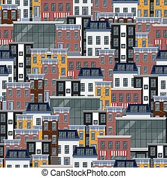 vector seamless flat pattern with different city buildings....