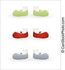 Female Cartoon Shoes Vectors - Various Colored Cartoon Kid...